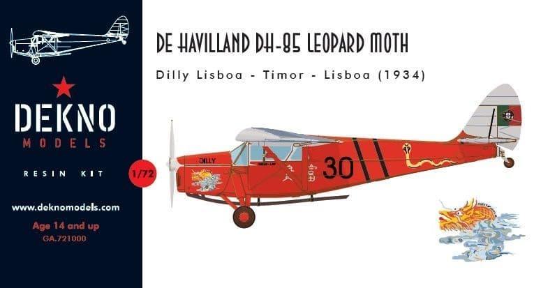 Dekno 1/72 de Havilland DH.85 Leopard Moth Dilly Lisboa - Timor - Lisboa (1934) # GA721000