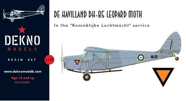 Dekno 1/72 de Havilland DH.85 Leopard Moth KLU/RAF Version # GA721002
