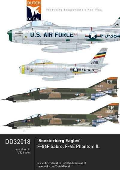 Dutch Decal 1/32 2TH USAFE North-American F-86F, McDonnell F-4E Phantom # 32018