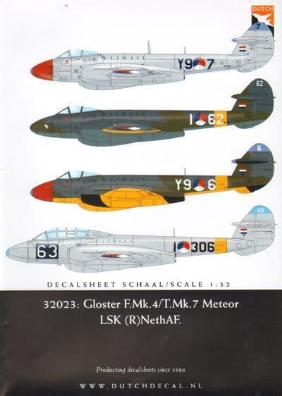 Dutch Decal 1/32 Gloster F Mk.4 /T Mk.7 LSK. RNethAF. # 32023