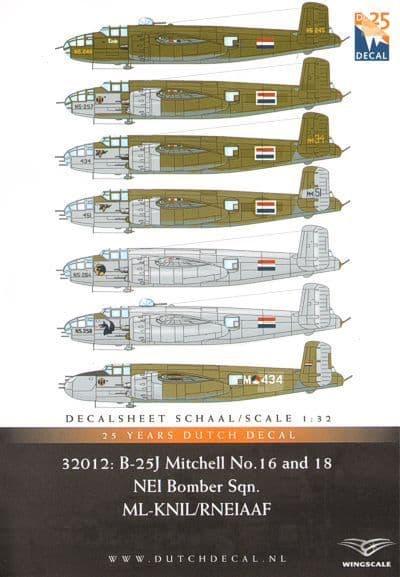 Dutch Decal 1/32 North-American B-25J Mitchell (Strafer) No.16 & 18 Sqn. RNEIAAF # 32012