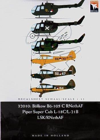 Dutch Decal 1/32 Piper Cub Klu, Bolkow Klu Royal Netherlands Air Force # 32010