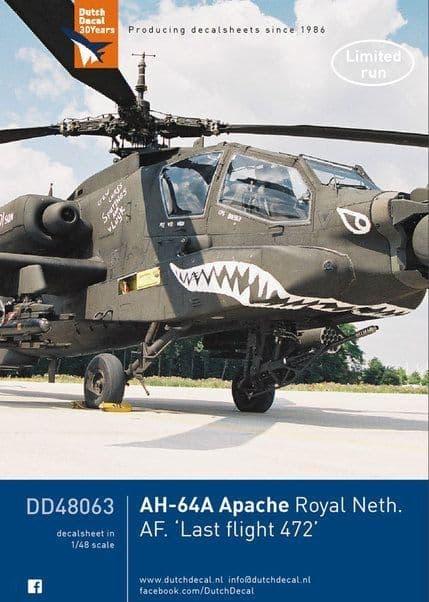 Dutch Decal 1/48 Bell AH-64A Apache Royal Neth. AF. 'Last Flight 472' # 48063