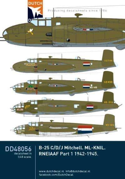 Dutch Decal 1/48 Dutch North-American B-25C/B-25D/B-25J Mitchells # 48056