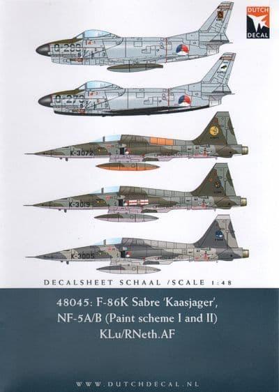 Dutch Decal 1/48 F-86K Sabre 'Kaasjager', NF-5A/B # 48045