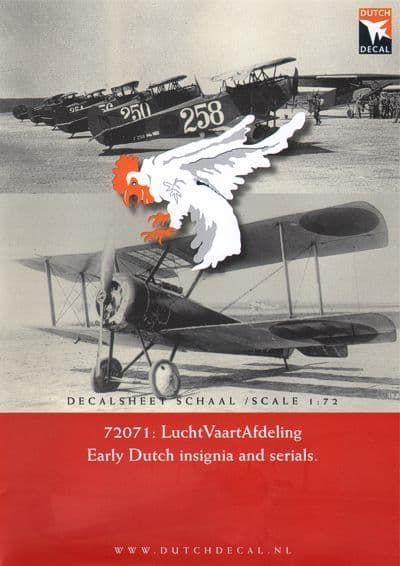 Dutch Decal 1/72 LuchtVaartAfdeling Early Dutch Insignia and Serials # 72071