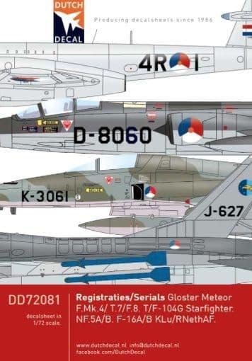 Dutch Decal 1/72 Registrations/serials # 72081