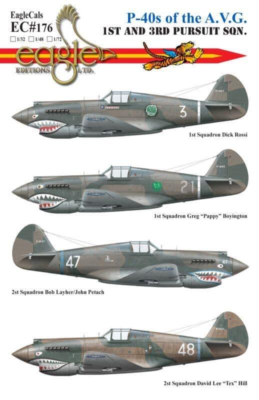 Eagle Cal 1/72 Curtiss P-40s of the A.V.G. 1st and 3rd Pursuit Squadron # 72176