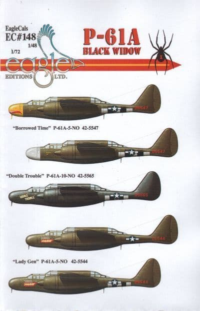 Eagle Cal Decals 1/48 Northrop P-61A Black Widow # 48148