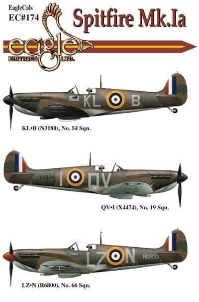 Eagle Cal Decals 1/72 Supermarine Spitfire Mk.Ia # 72174