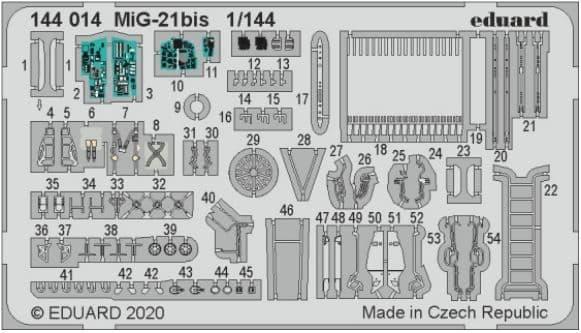 Eduard 1/144 Mikoyan MiG-21bis Detailing Set # 144014