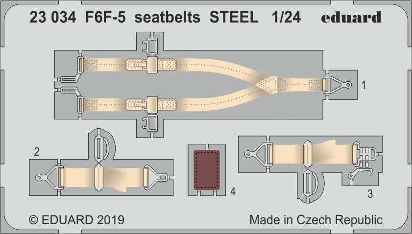 Eduard 1/24 Grumman F6F-5 Hellcat Seatbelts STEEL # 23034