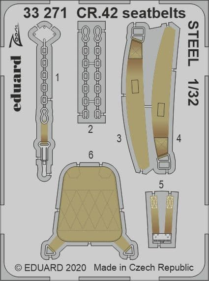 Eduard 1/32 Fiat CR.42 Seatbelts STEEL Zoom Set # 33271