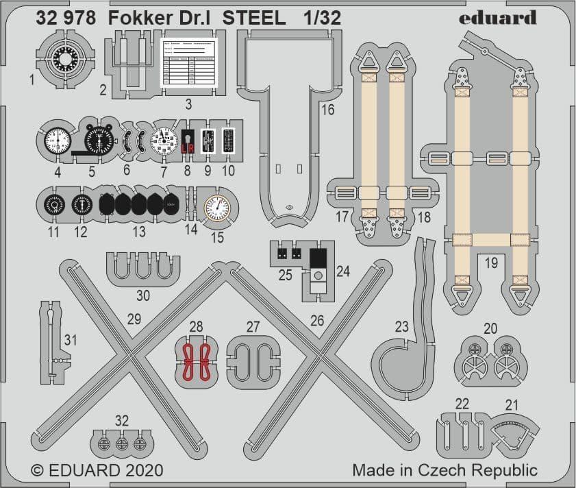 Eduard 1/32 Fokker Dr.I STEEL Detailing Set # 32978