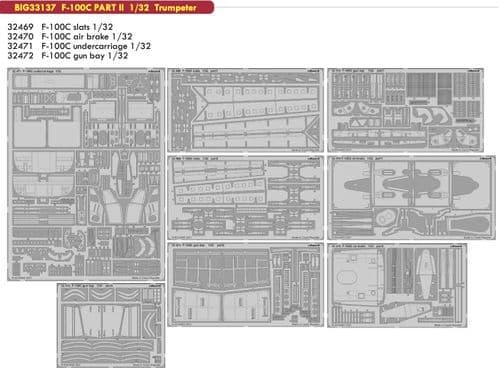 Eduard 1/32 North-American F-100C Part II Big-Ed Set # 33137