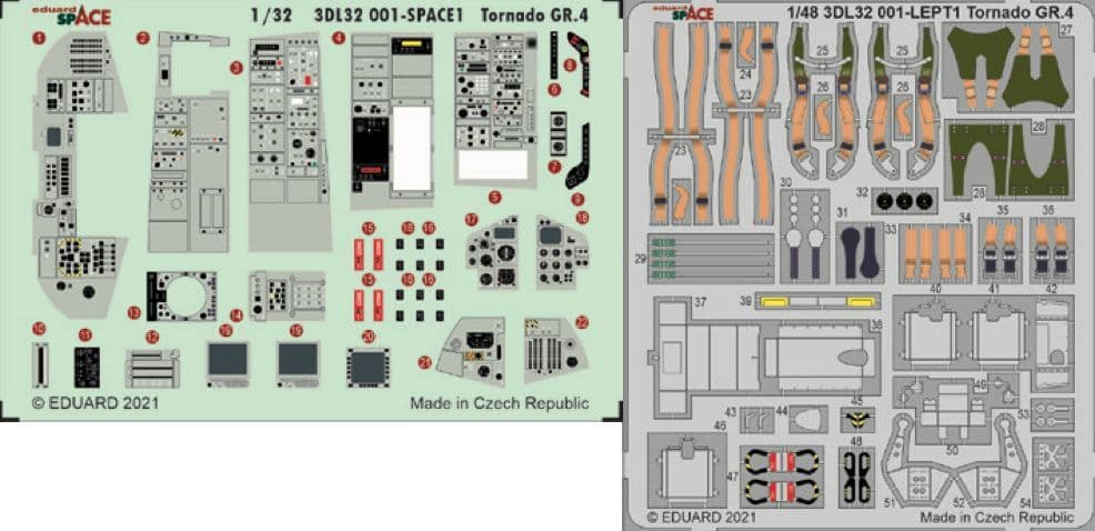 Eduard 1/32 Panavia Tornado GR.4 SPACE-3D Decals with Etched Parts # 3DL32001
