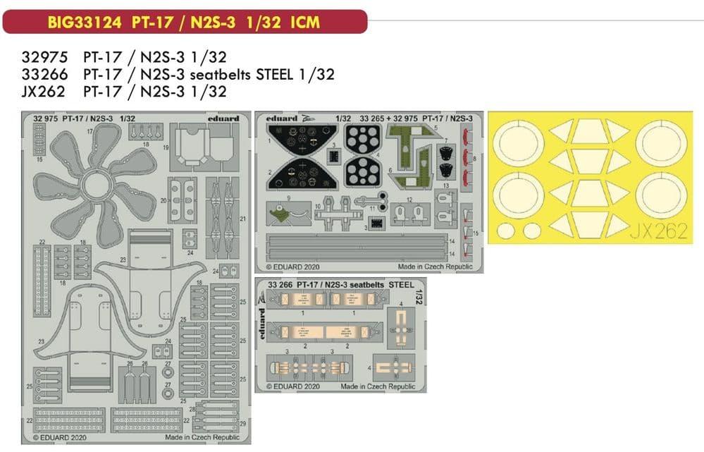 Eduard 1/32 Stearman PT-17/N2S-3 Kaydet Big-Ed Set # 33124