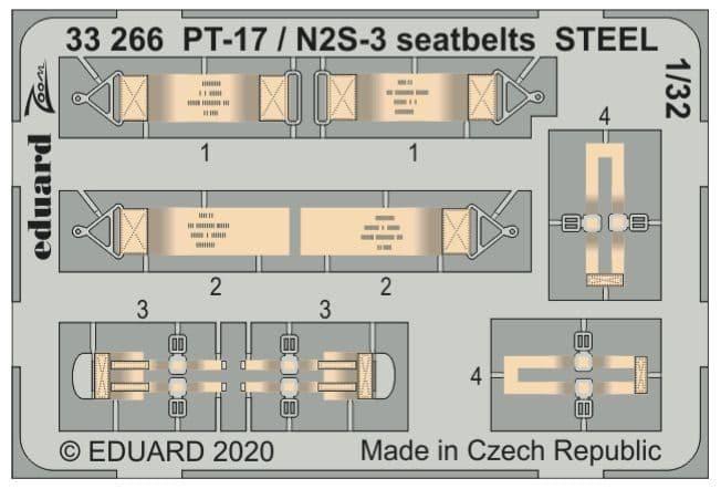 Eduard 1/32 Stearman PT-17/N2S-3 Seatbelts STEEL Zoom Set # 33266