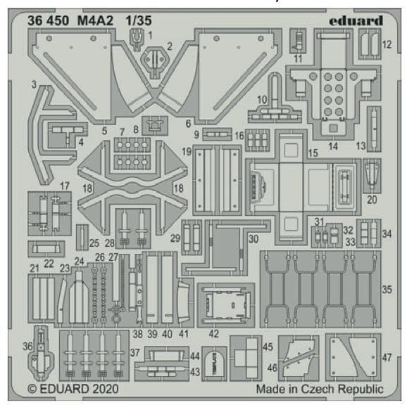 Eduard 1/35 M4A2 Sherman Detailing Set # 36450