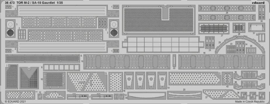 Eduard 1/35 Russian TOR M2 / SA-15 Gauntlet Missile System Detailing Set # 36473
