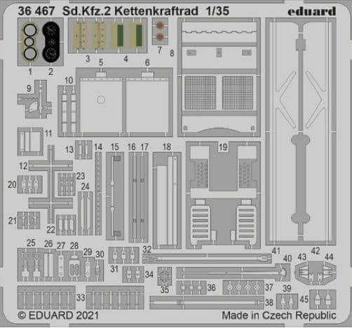 Eduard 1/35 Sd.Kfz.2 Kettenkraftrad Detailing Set # 36467