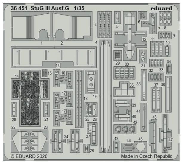 Eduard 1/35 StuG III Ausf.G Detailing Set # 36451
