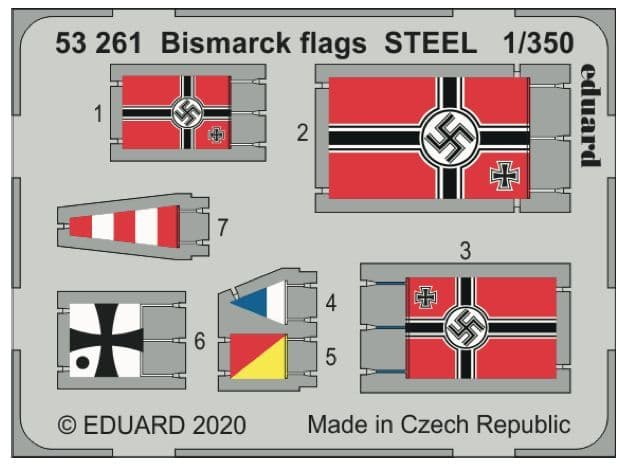 Eduard 1/350 Bismarck German Battleship Flags STEEL # 53261