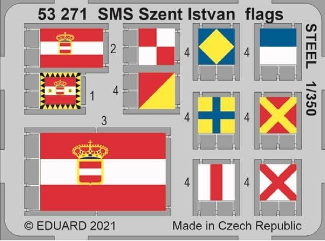 Eduard 1/350 SMS Szent Istvan Flags STEEL # 53271