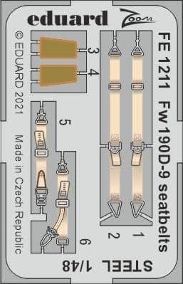 Eduard 1/48 Focke-Wulf Fw-190D-9 Seatbelts STEEL Zoom Set # FE1211