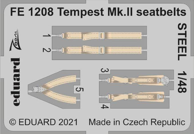 Eduard 1/48 Hawker Tempest Mk.II Seatbelts STEEL Zoom Set # FE1208