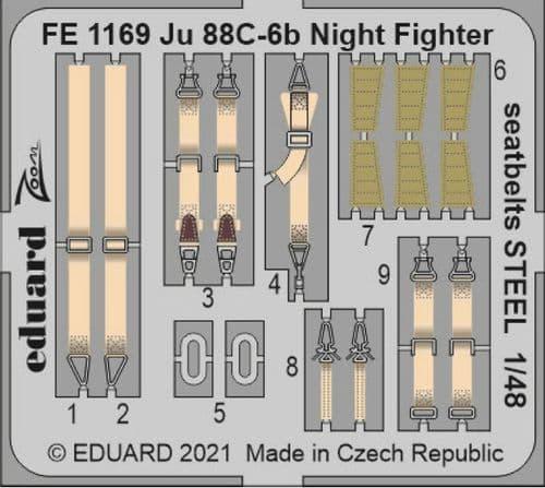 Eduard 1/48 Junkers Ju-88C-6b Night Fighter Seatbelts STEEL Zoom Set # FE1169
