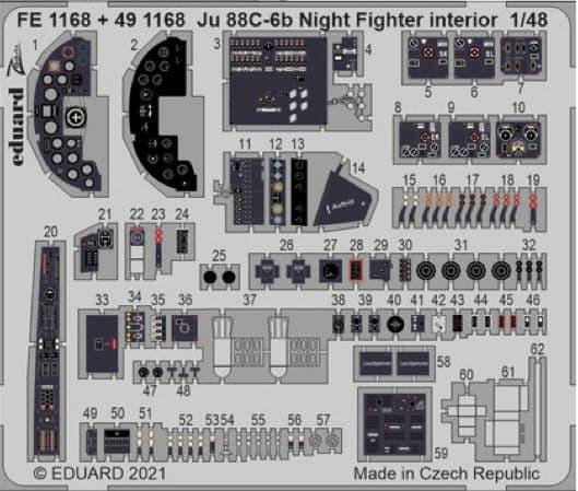 Eduard 1/48 Junkers Ju-88C-6b Night Fighter Zoom Set # FE1168