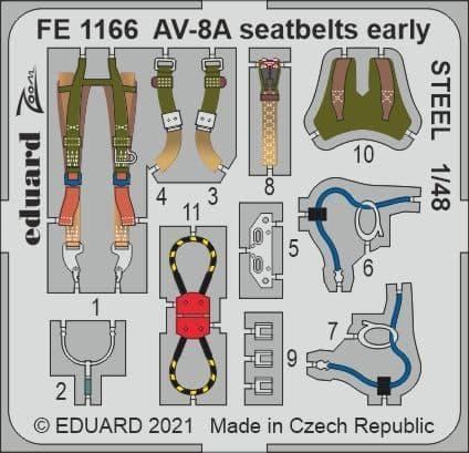 Eduard 1/48 McDonnell-Douglas AV-8A Harrier Seatbelts Early STEEL Zoom Set # FE1166