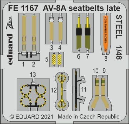 Eduard 1/48 McDonnell-Douglas AV-8A Harrier Seatbelts Late STEEL Zoom Set # FE1167