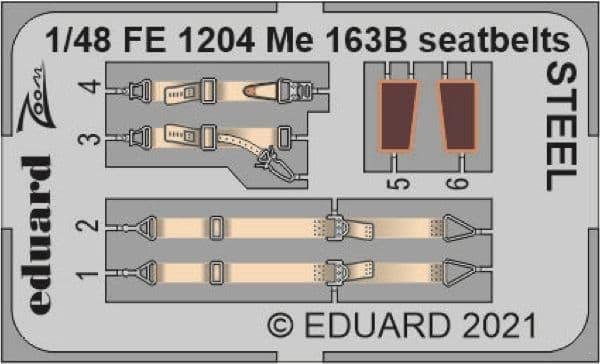 Eduard 1/48 Messerschmitt Me-163B Komet Seatbelts STEEL Zoom Set # FE1204