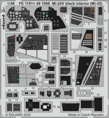 Eduard 1/48 Mi-24V/VP Black Interior (Mil Mi-35) # FE1101