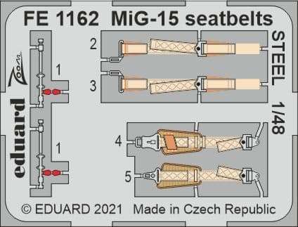 Eduard 1/48 Mikoyan MiG-15 Seatbelts STEEL Zoom Set # FE1162