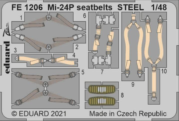 Eduard 1/48 MiL Mi-24P Seatbelts STEEL Zoom Set # FE1206