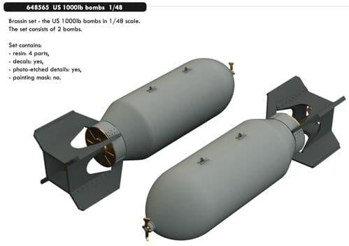 Eduard Brassin 1/48 US 1000lb Bombs # 648565