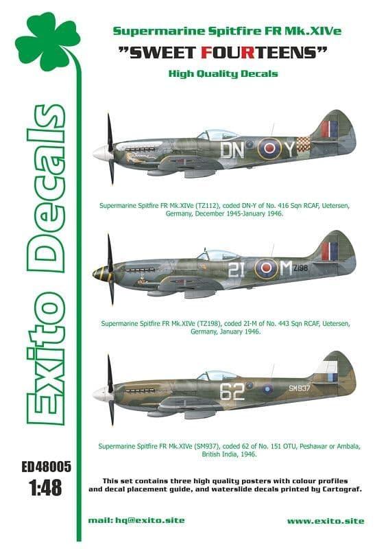"""Exito Decals 1/48 """"Sweet Fourteens"""" - Supermarine Spitfire Mk. XIVe # 48005"""