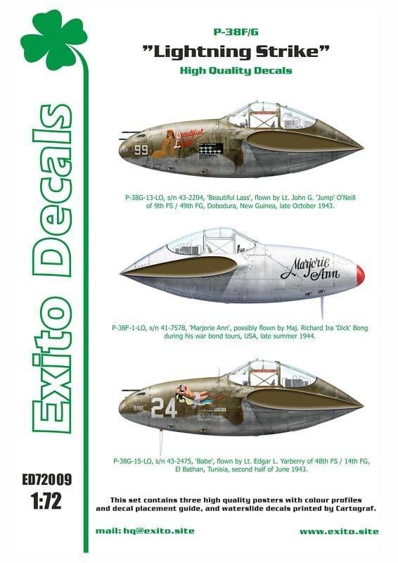 "Exito Decals 1/72 Lockheed P-38F/G Lightning - ""Lightning Strike"" # 72009"