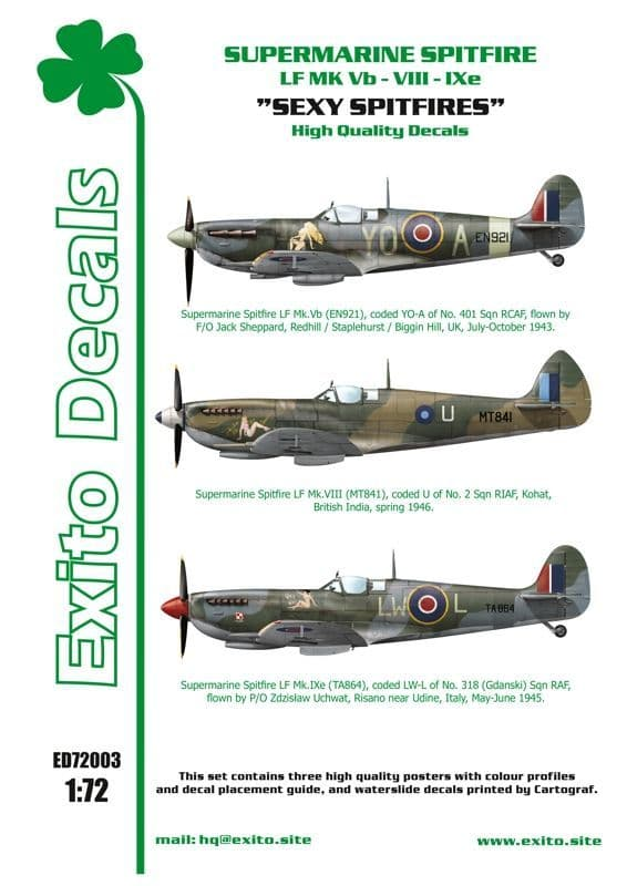 "Exito Decals 1/72 Supermarine Spitfire LF Mk.Vb - VIII - IXe ""Sexy Spitfires"" # 72003"