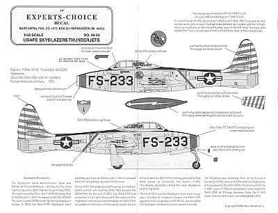 Experts Choice 1/48 Republic F-84E Skyblazers # 4853