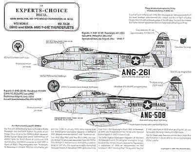 Experts Choice 1/72 Republic F-84E Air National Guard # 7228