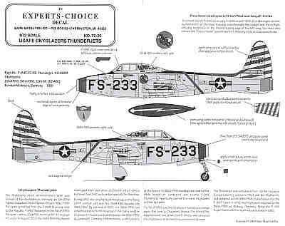 Experts Choice 1/72 Republic F-84E Skyblazers # 7226