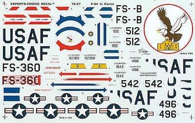 Experts Choice 1/72 Republic F-84E Thunderjet over Korea # 7227