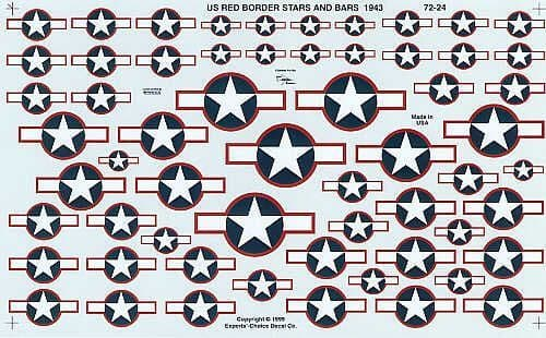 Experts Choice 1/72 U.S. National Insignia Star and Bar 1943 Red Border # 7224