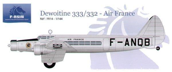 F-rsin 1/144 Dewoitine D.333 / D.332 Air France # 44014