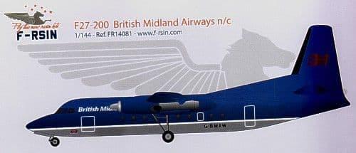 F-rsin 1/144 Fokker F-27-200 British Midland Airways n/c # 44081
