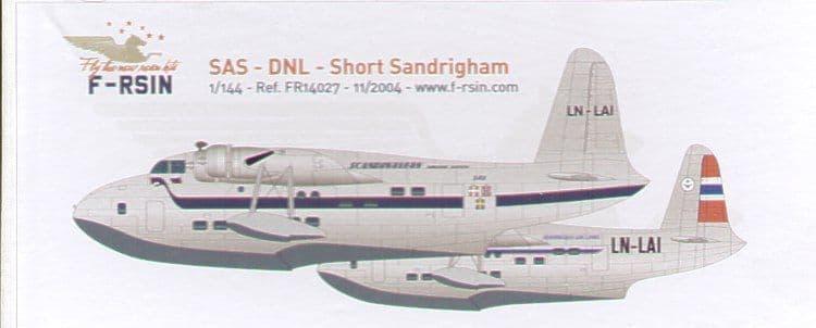 F-rsin 1/144 Short Sandringham SAS/Norwegian Flying Boat/Seaplane # 44027